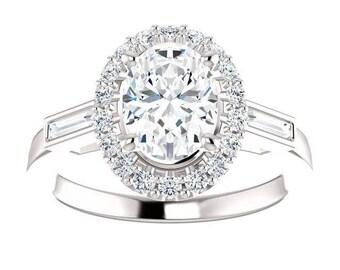 Forever One Moissanite Engagement Ring- Hadley | oval | halo moissanite engagement ring