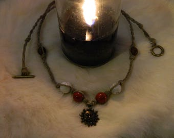Hand-Braided Sun + Fire Necklace