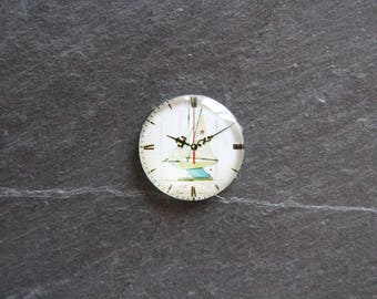 Cabochon 25 mm glass clock, nautical sailboat