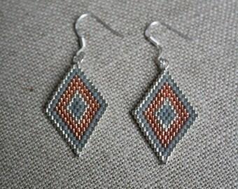 Pearl Earrings glass Miyuki silver grey and orange, 925 Silver hooks