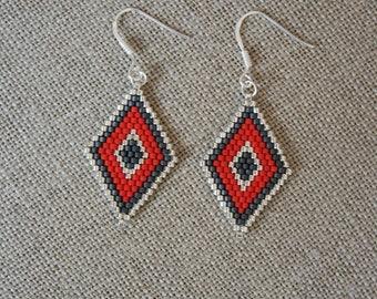 Diamond Earrings beads Miyuki, silver tone grey and red glass