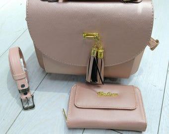 Pink purse, belt, wallet set