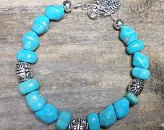 Crackled turquoise and silver charm bracelet, under 20, southwestern, turquoise bead bracelet, gift for her, christmas gift jewelry