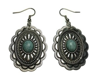 Large Antiqued Silver and Crackled Turquoise Earrings, under 10, lightweight earrings, nickel free, boho style, southwestern style, for her