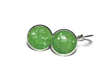 druzy earrings, lever back earrings, green druzy, green earrings, dangle earrings, hypoallergenic earrings, geode earrings, under 10 dollars