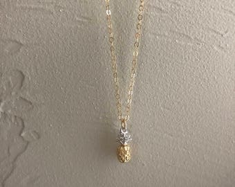 Dainty 24k Gold Plated Pineapple Necklace 15""