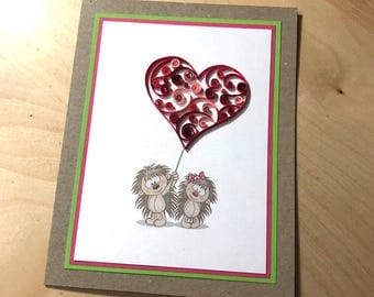 Hengehog quilled greeting card