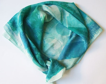 Cornish Abstract 2 hand painted and hand printed small silk square scarf turquoise aqua and green