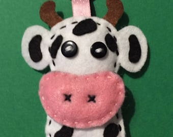 Black and white cow keychain