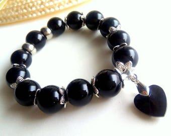 Onyx Bracelet 14mm, Black Stone Bracelet, Onyx Jewelry, Stone Jewelry, Onyx Bracelet, Black  Bracelet, Black Heart Bracelet, Heart Bracelet