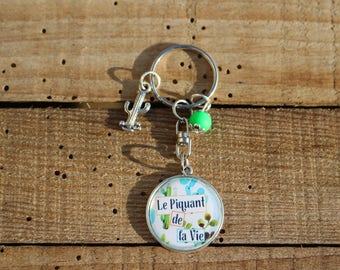 Door keys decorating bag accessory - * the spice of life - Cactus - mode - round cabochon - Creation to offer or afford