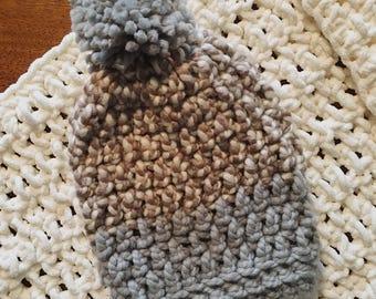 Chunky Crochet Hat, Slouchy Hat with Pom Pom / Grey Neutral Tones
