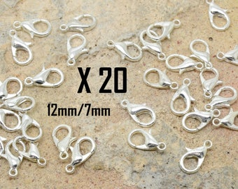20 x Classic lobster clasp silver metal 12 / 7mm