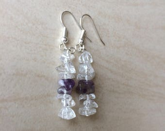 Amethyst & Clear Quartz Gemstone Earrings