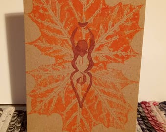 Greeting card Goddess Mother Nature with Autumn leaves original Linocut Printed Card by Amy David