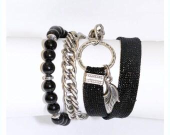 Black wrap bracelet, Black bracelet, Wrap bracelet, Modern jewelry, Gift under 50, Leaf bracelet, Leaf pendant, Bracelet gift,Layer bracelet