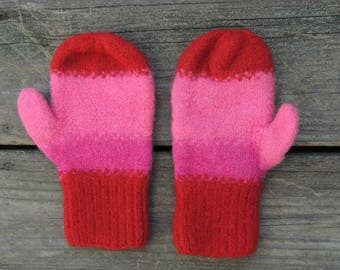 Felted Wool Mittens - hand knit- child size