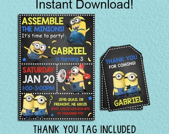Minions Invitation Invitation, Minions Invitation Instant Download, Minions Invitation Printable, Editable PDF Template, Thank You Tags