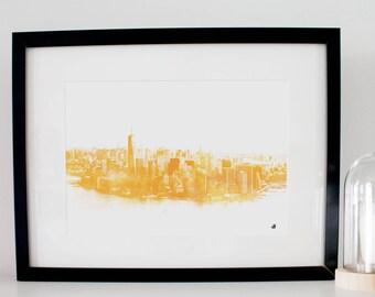 View of Manhattan poster. Digital fashion watercolor painting. Decoration or gift! Watercolor New York poster