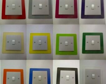 Single Light Switch Surround Coloured Acrylic Decorative Perspex Finger Plate Trim