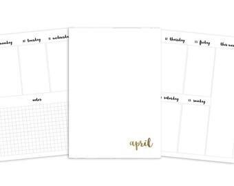 B6 April Weekly Printable Insert - TN - Plain Cover