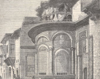 The Seby-el-Bedaweih Fountain, Cairo, Egypt 1845 - Old Antique Vintage Engraving Art Print - Building, Colonnade, Mashrabiya, Ornamental