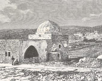 Rachel's Tomb and Bet Djala, Palestine 1885 - Old Antique Vintage Engraving Art Print - Masoluem, Building, Dome, Bricks, Rubble, Arch, Town