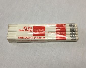 """1980's Coca-Cola """"It's the Real Thing"""" Pencils in Package - One Dozen"""