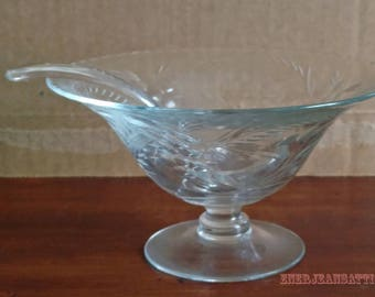 Pressed Glass Pattern Pedestal Mayonnaise Dish with Glass Dipper 3.5 inches tall 6 inch diameter