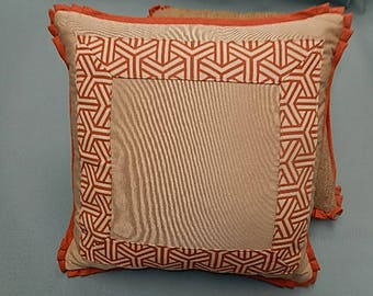 Geometric Print Pillow - Orange, White, Tan - Decorative, Couch, Living Room, Bed Pillow