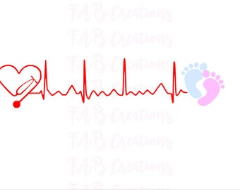 Stethoscope Heartbeat - Baby Feet - .svg .png .eps .dxf
