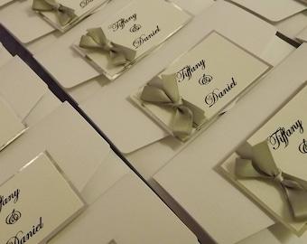 1 x Pocketfold sample Wedding Invitations Ribbon bow design