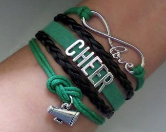 Cheer bracelet, Cheerleader gift, Cheerleading jewelry, Megaphone charm, Cheer squad Gift, Cheer Team, Infinity cheer bracelet, Green/Black