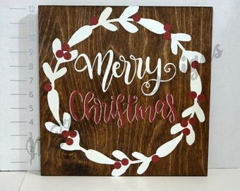 Merry Christmas with Wreath Wooden Sign