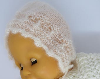 Newborn photo prop- Baby bonnet -White baby bonnet -Christening bonnet Mohair bonnet