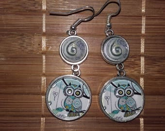 Pair of OWL and spiral earrings
