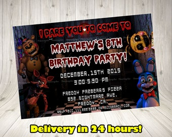 Five Nights at Freddy's Invitation, Five Nights at Freddy's Birthday Invitation, FNAF chalkboard invitation.FNAF blackboard. FNAF invitation