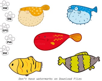 Under the sea SVG Files, Diodon svg, Clown fish Clipart,  cricut, cameo, silhouette cut files commercial & personal use