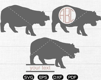 Hippo Svg, Hippo Clipart, Monogram Frame cricut, cameo, silhouette cut files commercial & personal use