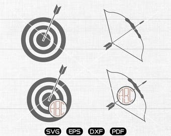 Bow and Arrow Svg, Archery Clipart, Monogram Frame cricut, cameo, silhouette cut files commercial & personal use