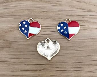 5/10 Gold Tone Heart American Flag Charms Star Spangled Banner 16mm x 16mm