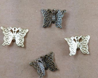 Set of 6 Butterfly multicolored ref FP88 charms