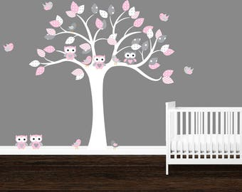 SALE, Owl Tree Wall Decal, Polka Dots, Gray, Pink, Girlu0027s Nursery Part 42