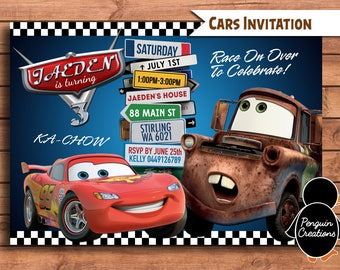 Cars Invitation. Cars Birthday Party. Baby Shower. Party Supplies.