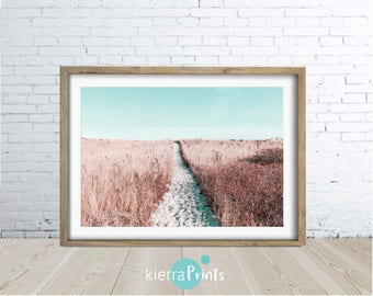 Beach Path, Beach Print, Digital Download, Aqua, Colour Photography, Pastel, Sea, Large Poster Print, Wall Art