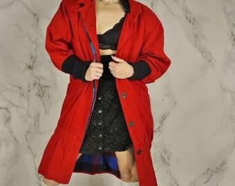 Vintage 1970's Red Drop Waist Corduroy Coat w/ Knit Cuffs   Long Mandarin Collar Jacket   M   L
