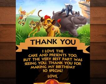 Printable Lion Guard Thank You Card, Lion Invite, Kids Birthday Invite, Printable Lion Guard, Instant Download, PDF, Editable, DIY Printing