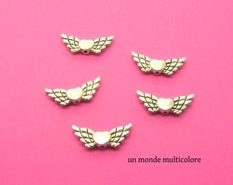 5 charms, charms shaped heart and wings color silver 23 x 8 mm