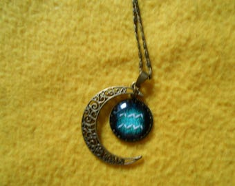 Crensent moon Aquarius zodiac necklace