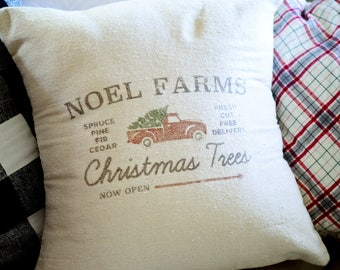 NEUTRAL | GRAIN SACK | Noel Farms Tree Pillow Cover.Decorator Pillow Cover.Home Decor.Farm House.Christmas Pillow.Cushions.Cushion.Pillow.